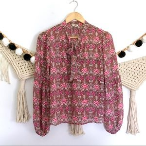 NWOT FOREVER21 Pink Floral Boho Puff Sleeve Blouse
